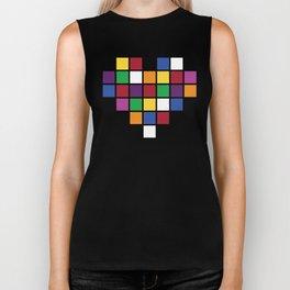 Pixel Heart Multicolor Love Biker Tank