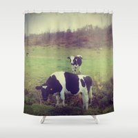 cows Shower Curtains featuring Rustic Cows by Olivia Joy StClaire