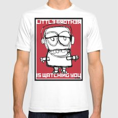 Little Brother is Watching You. MEDIUM White Mens Fitted Tee
