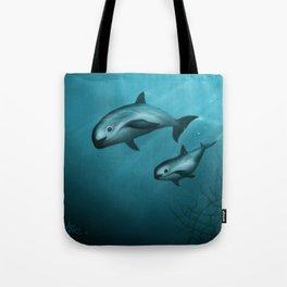 Treacherous Waters - Vaquita Porpoise Art, Original Digital Painting by Amber Marine, Copyright 2015 Tote Bag