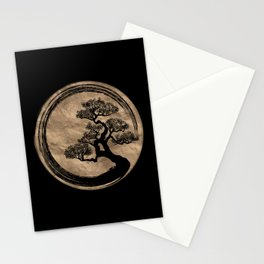 Enso Zen Circle and Bonsai Tree Gold Stationery Cards