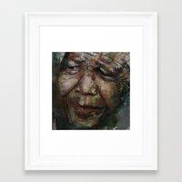 mandela Framed Art Prints featuring Mandela by Paul Lovering Watercolors