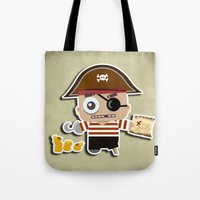 pirate Tote Bags featuring PIRATE by AnishaCreations