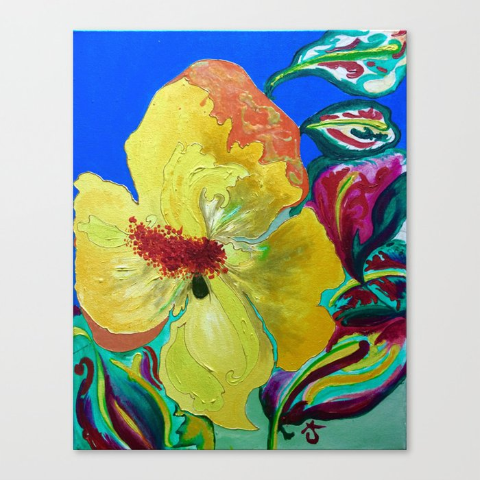 Birthday Acrylic Yellow Orange Hibiscus Flower Painting with Red and Green  Leaves Canvas Print by anoellejay