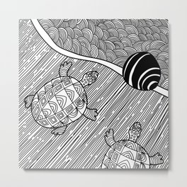 Struggle Of The Turtle To The Sea Black and White Metal Print