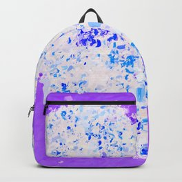 blue and white heart shape with purple background Backpack