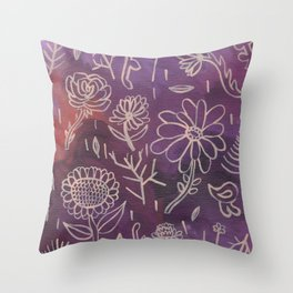 Purple Floral Throw Pillow