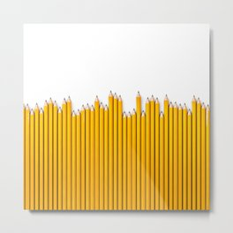 Pencil row / 3D render of very long pencils Metal Print