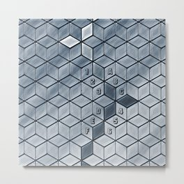 Soft gradient cubes in grey tones Metal Print