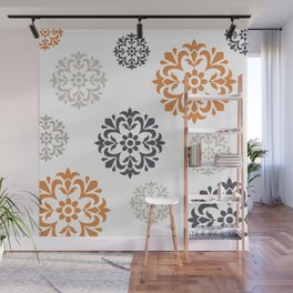 Flowers in Grey and Mustard Wall Mural