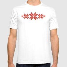 Scandinavian inspired print with red mini stars MEDIUM Mens Fitted Tee White