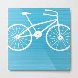 Blue Bike by Friztin Metal Print