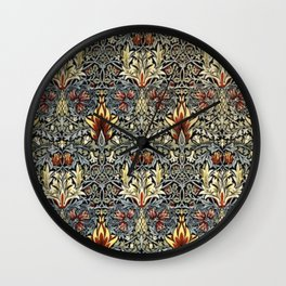 William Morris Indian Snakeshead Victorian Textile Floral Pattern Wall Clock