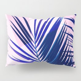 Indigo Palm Leaves on Pink Pastel Geometry #tropical #decor #lifestyle Pillow Sham
