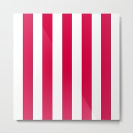 Rich carmine fuchsia - solid color - white vertical lines pattern Metal Print