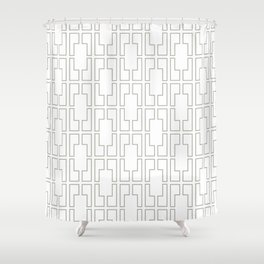 Simply Mid-Century Retro Gray on White Shower Curtain