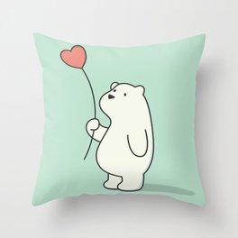 Kawaii Cute Polar Bear Throw Pillow