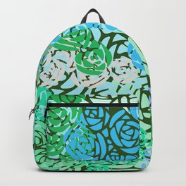 Colorful Overlapping Roses on Roses Print Design 2 Backpack