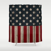 patriotic Shower Curtains featuring Patriotic Wood Texture #2 by Juliana RW