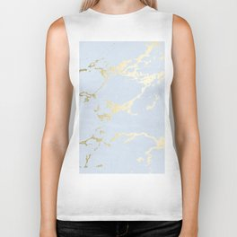 Kintsugi Ceramic Gold on Sky Blue Biker Tank