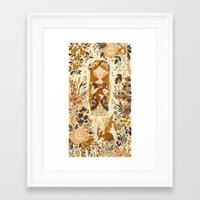 brown Framed Art Prints featuring The Queen of Pentacles by Teagan White