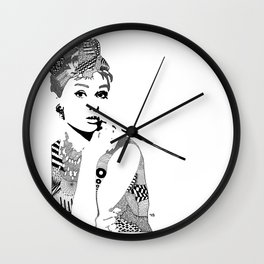 Audrey Hepburn - black and white Wall Clock