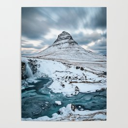 KIRKJUFELL IN WINTER - ICELAND MOUNTAIN - LANDSCAPE NATURE PHOTOGRAPHY Poster
