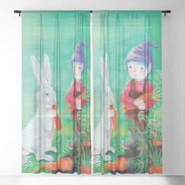 White Rabbit and Gnome with Carrot  Sheer Curtain