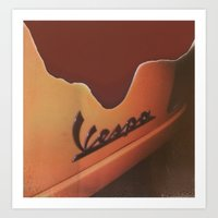 vespa Art Prints featuring Vespa by Leandro