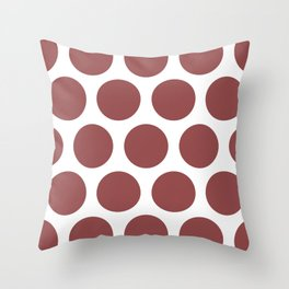 Large Polka Dots: Rustic Red Throw Pillow