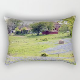 Old Red Barn and Rolling Bluebonnet Hills Rectangular Pillow