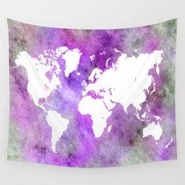 Design 61 World Map Purple Wall Tapestry
