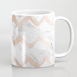 Chic faux rose gold chevron white marble pattern Coffee Mug