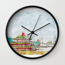 Aquarelle sketch art. Chinese style house Wall Clock