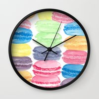 macarons Wall Clocks featuring Macarons by Christine Khoury Illustrations