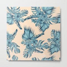 Island Retreat Hibiscus Palm Pastel Coral Teal Blue Metal Print