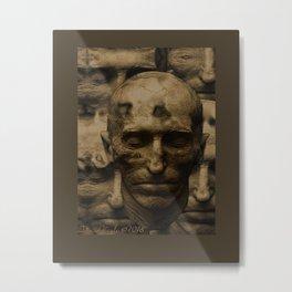 Nikola Tesla Death Mask Metal Print
