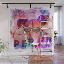 Cool Hipster Dog With Sunglasses Wall Mural