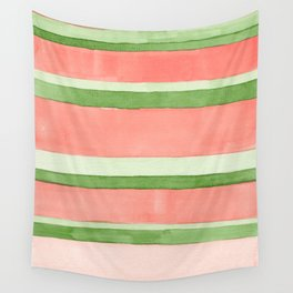 Pink and Green Stripes Wall Tapestry