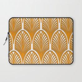 Orange,white,art deco, vintage,fan pattern, art nouveau, vintage, Laptop Sleeve