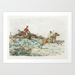 Illustration of men clearing hurdle during a hunting from Sporting Sketches (1817-1818) by Henry Alk Art Print