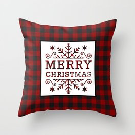 Plaid Merry Christmas Throw Pillow