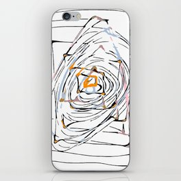 drawing square triangle and circle pattern abstract in orange blue and pink iPhone Skin