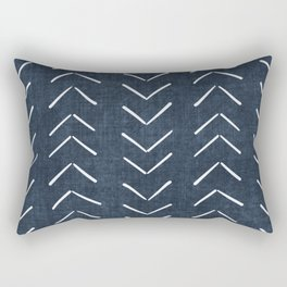 Mud Cloth Big Arrows in Navy Rectangular Pillow