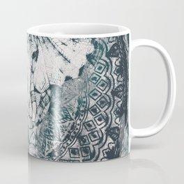 Elephant, India, Mandala, Teal, Green Coffee Mug