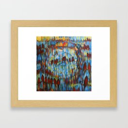 """Archer's Arrows"" a painting after the Crowded House song. Robins in the sky and music. Framed Art Print"
