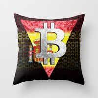 spain Throw Pillows featuring bitcoin spain by seb mcnulty