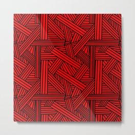 Sketchy Abstract (Black & Red Pattern) Metal Print