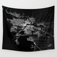 vancouver Wall Tapestries featuring vancouver map canada by Line Line Lines
