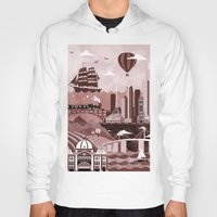 melbourne Hoodies featuring Melbourne Travel Poster Illustration by ClaireIllustrations